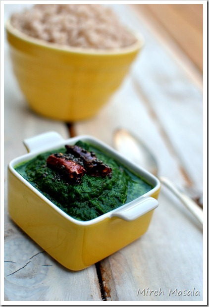 Keerai Masiyal ~ Simple Spinach Mash seasoned with Mustard, Chiles and Asafoetida