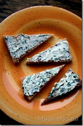 Little People Food – Spinach and Cream Cheese Toasts
