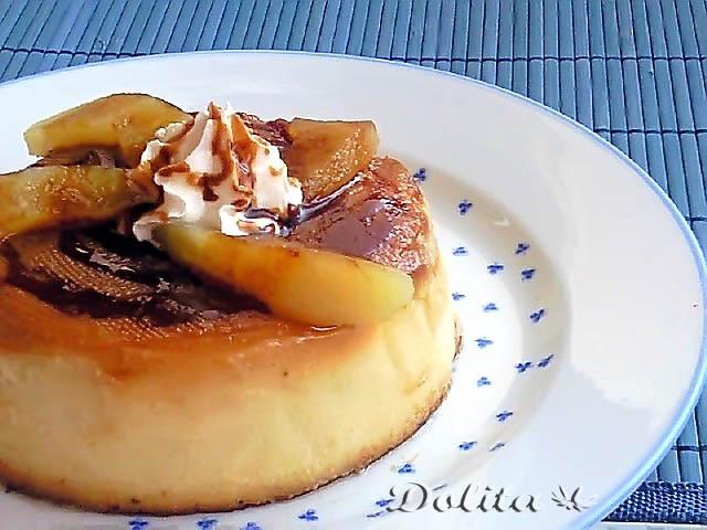 postres mexicanos-Flan de manzana.