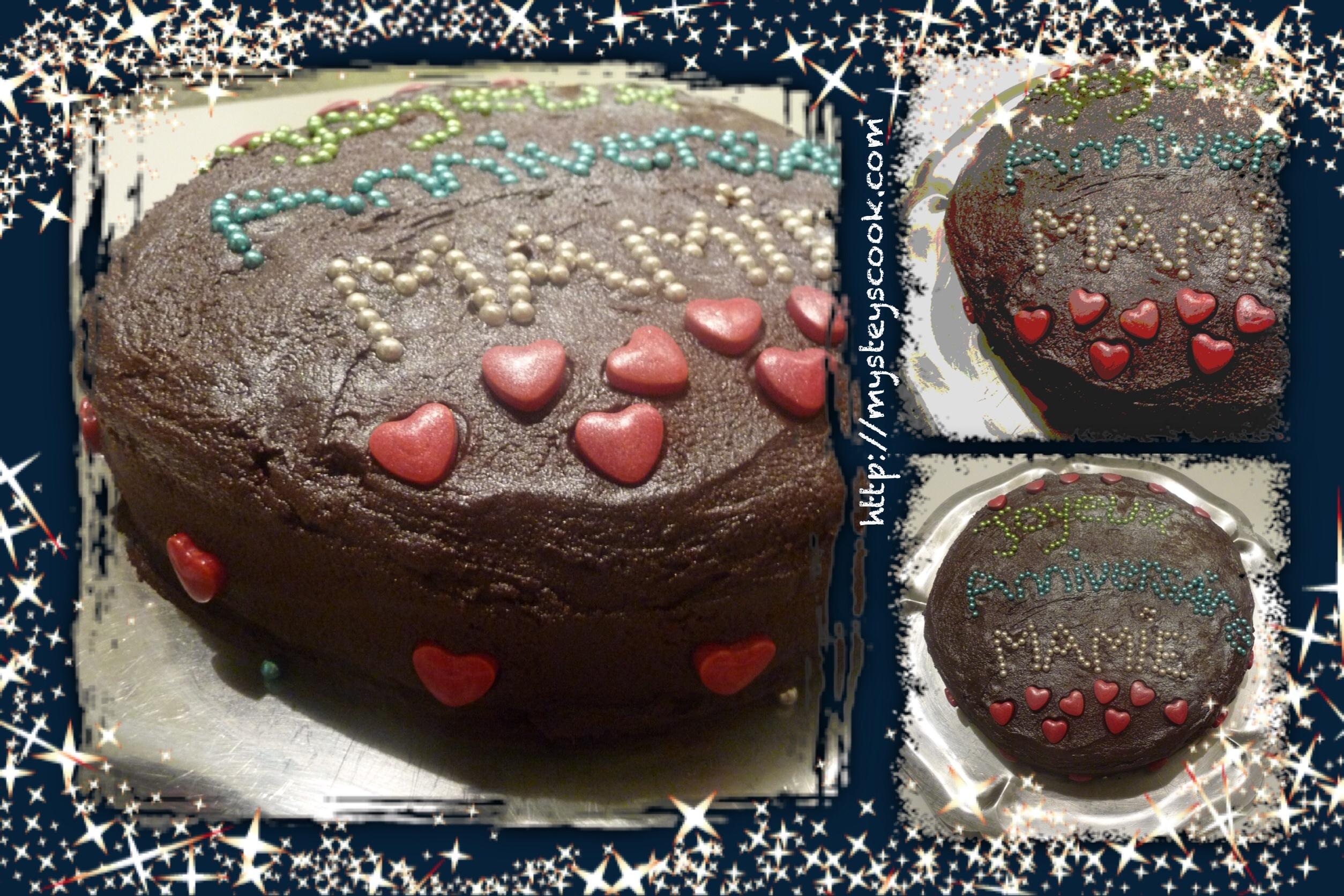 Gâteau chocolat et compote de pêche