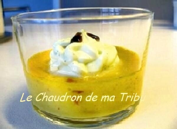 Creme brulée aux poivrons jaunes, chorizo et sa chantilly de chèvre frais
