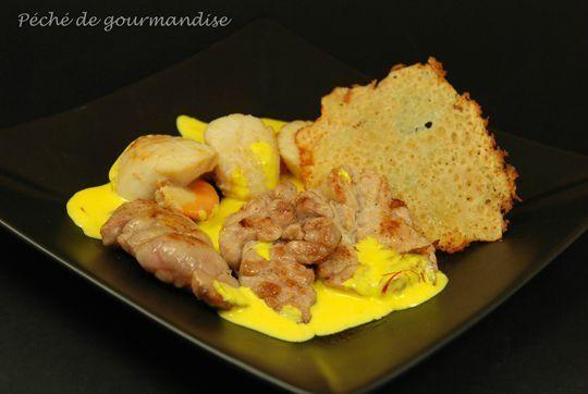 Duo de ris de veau Saint Jacques sauce safranée