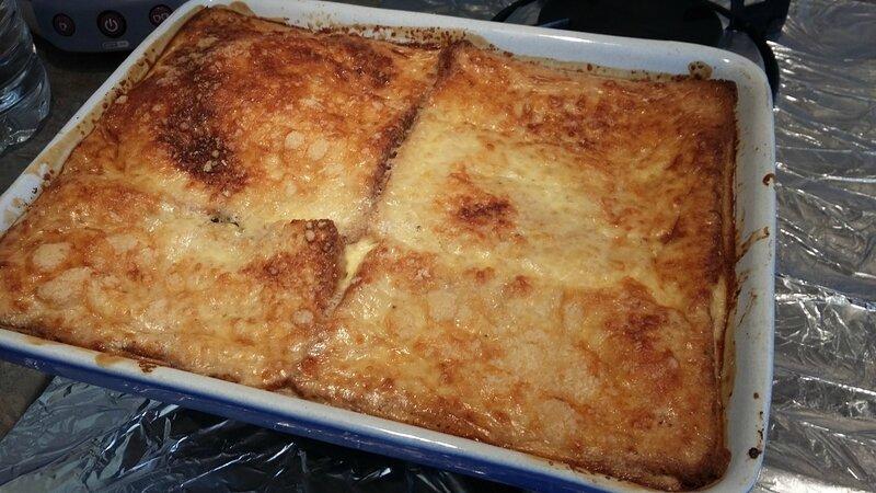 Croque mr géant au jambon, brie et pesto