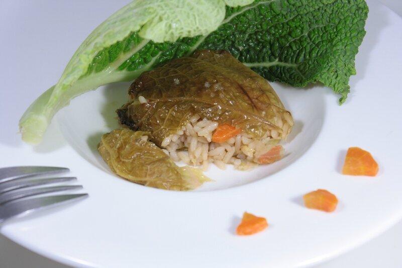Choux farcis au riz pilaf & petits légumes