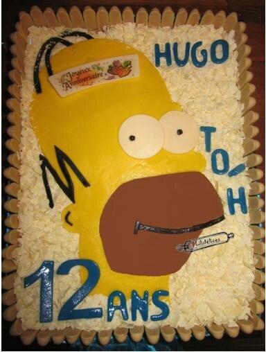 """""""Gâteau d'anniversaire Homer Simpson"""""""