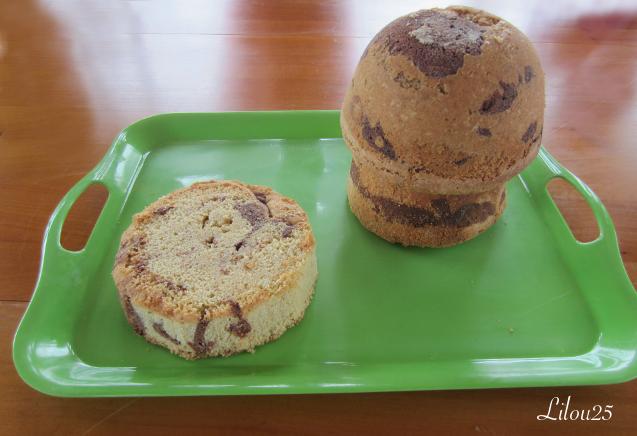 Maison des Schtroumpfs, gâteau marbré sans gluten