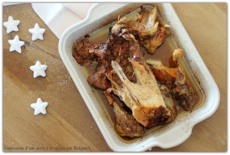 Poularde farcie; farce foie gras, cèpes et jambon de bayonne