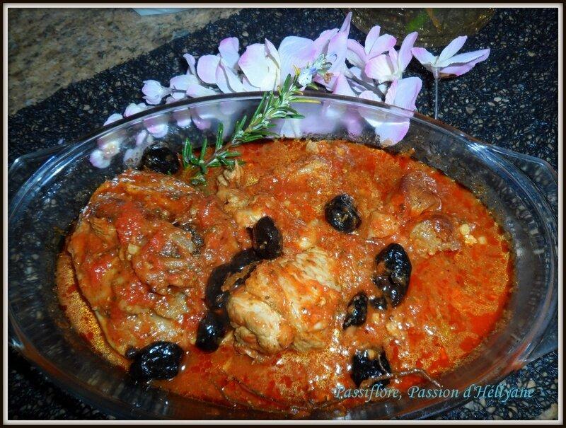 Osso bucco de dinde, tomates, olives noires et vertes