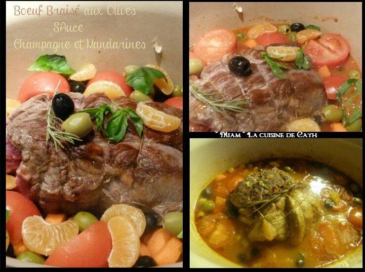 """ღ """" Miam """" Bœuf braisé aux Olives Sauce Champagne et Mandarines"""