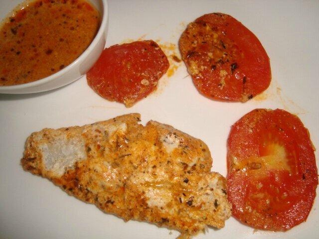 Filet de colin d'Alaska à la ricotta, à la tomate et à la sauce Basque Sakari ( en papillote )
