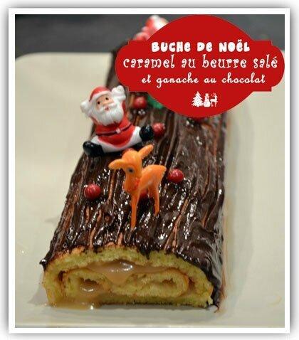 Buche de Noël caramel au beurre salé et ganache au chocolat