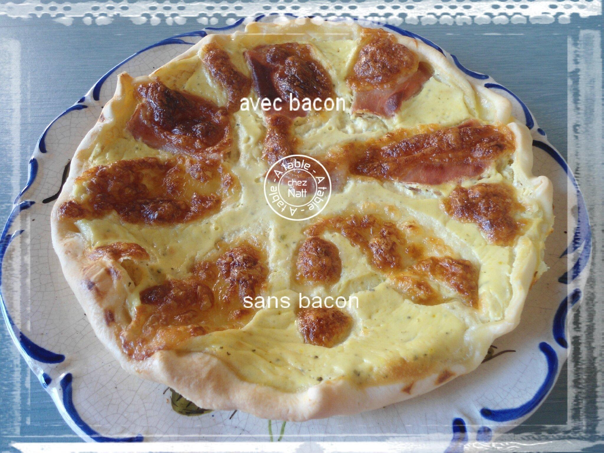 """Quiche """"originale"""" courgettes au chèvre frais, chiffonnade de bacon, mozzarella"""