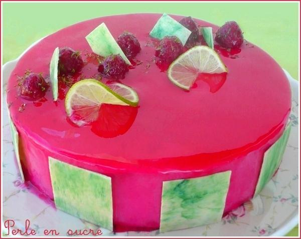 Entremet citron vert / framboise