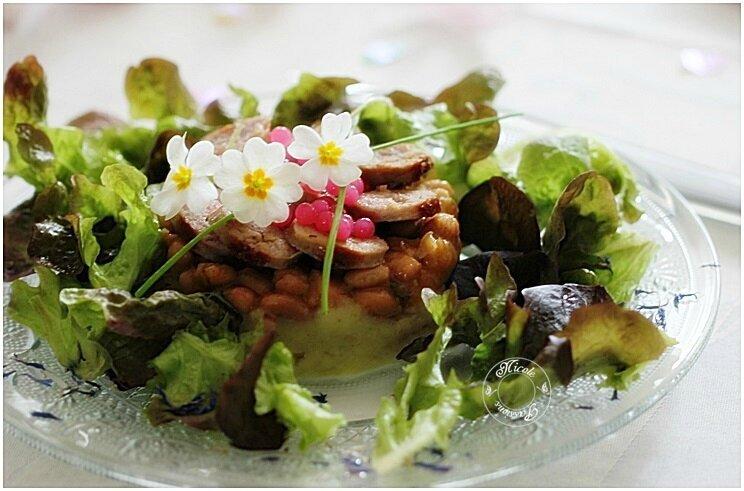 Saucisse de Toulouse, écrasé de pommes de terre, haricots blancs façon festive....