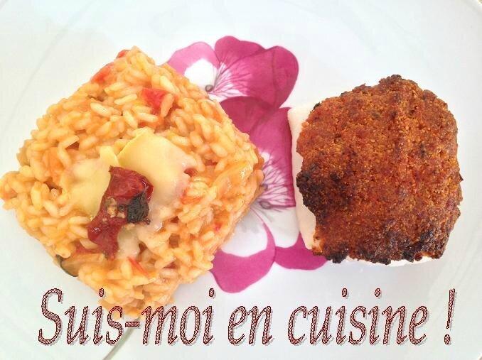 Merlu en croûte de Pancetta & Tomates séchées & son Risotto Rouge à l'Abondance
