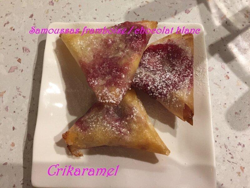 Samoussas framboise / chocolat blanc