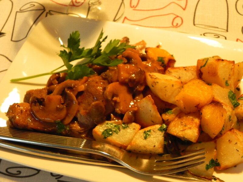 Palette de veau braisée aux champignons et au vin blanc, sans gluten
