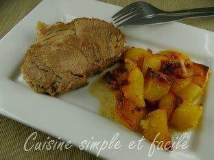 Rôti de porc et ses petites pommes de terre (cuisson au four)