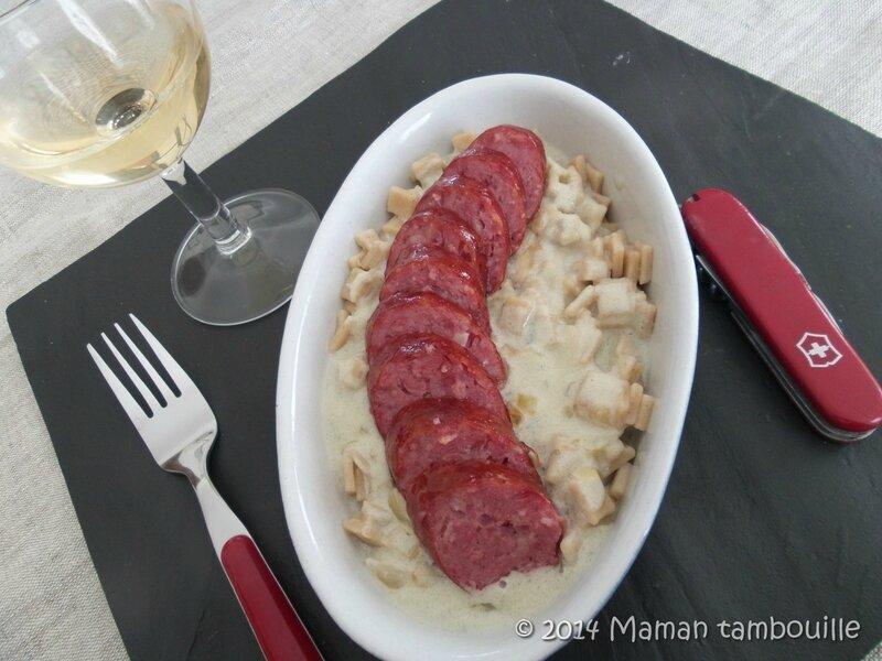 Crozets aux diots de savoie sauce au roquefort