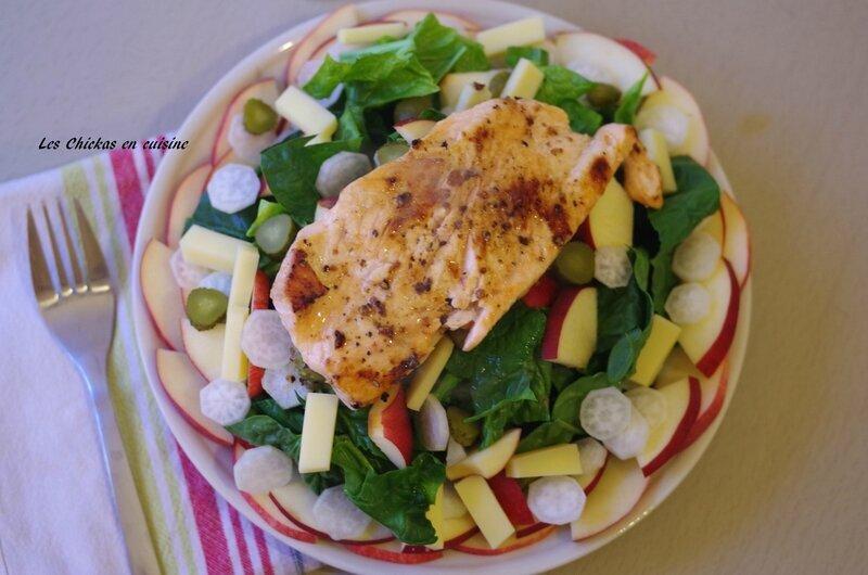 Salade d'épinards et pavé de saumon