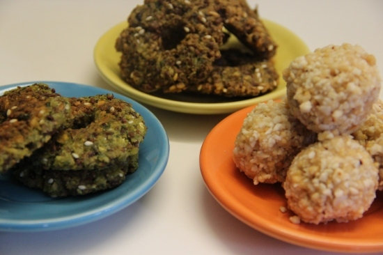 Peanut laddu and brown chickpea vada