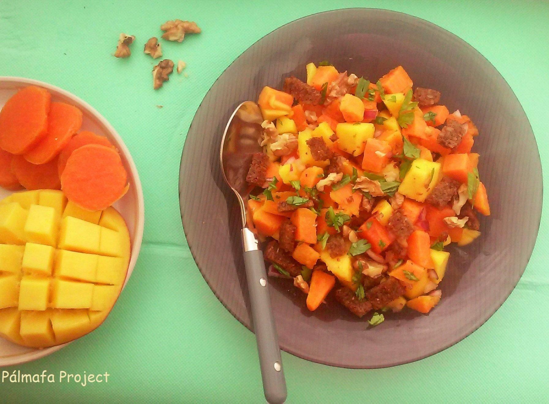 Édesburgonyás mangós panzanella