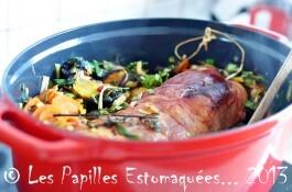 Kassler aux poireaux, bettes et carottes à la marjolaine