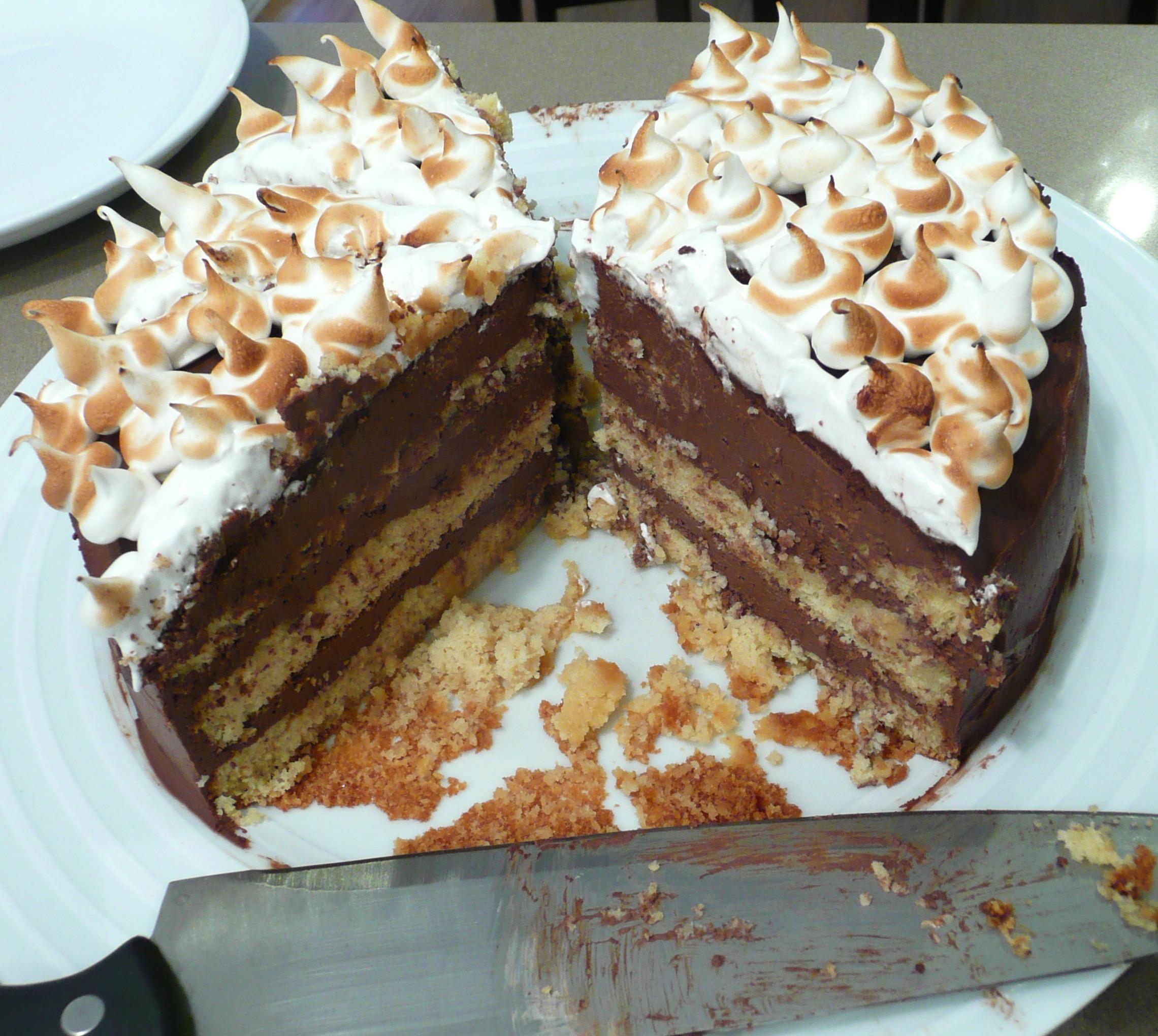 Gâteau étagé (Layer cake) chocolat-amande (IG bas, sans lactose, sans gluten)
