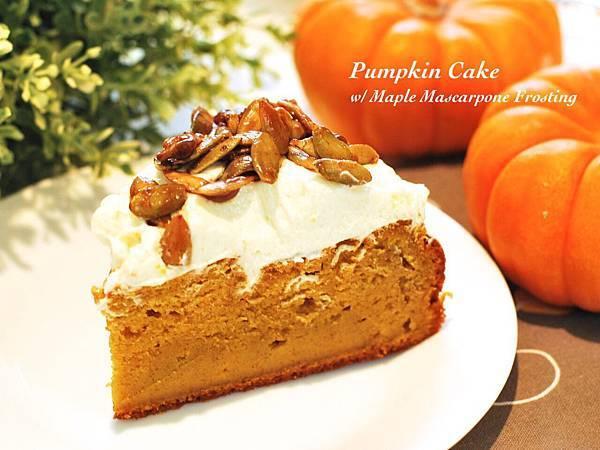 遠見網路獨享。秋日的金黃盛宴:南瓜蛋糕佐楓糖乳酪糖霜 Pumpkin Cake with Maple Mascarpone Frosting