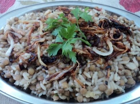 farofa de lentilhas com arroz