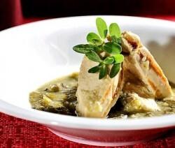 verdolagas con pollo en salsa verde