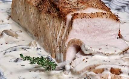 de carne al horno con vino blanco y champiñones