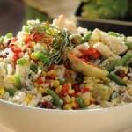 Ensalada de arroz integral con palmitos y queso pategrás