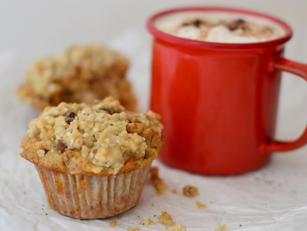 Muffins de Manzana, Zanahoria y Nueces, con cobertura de avena crocante