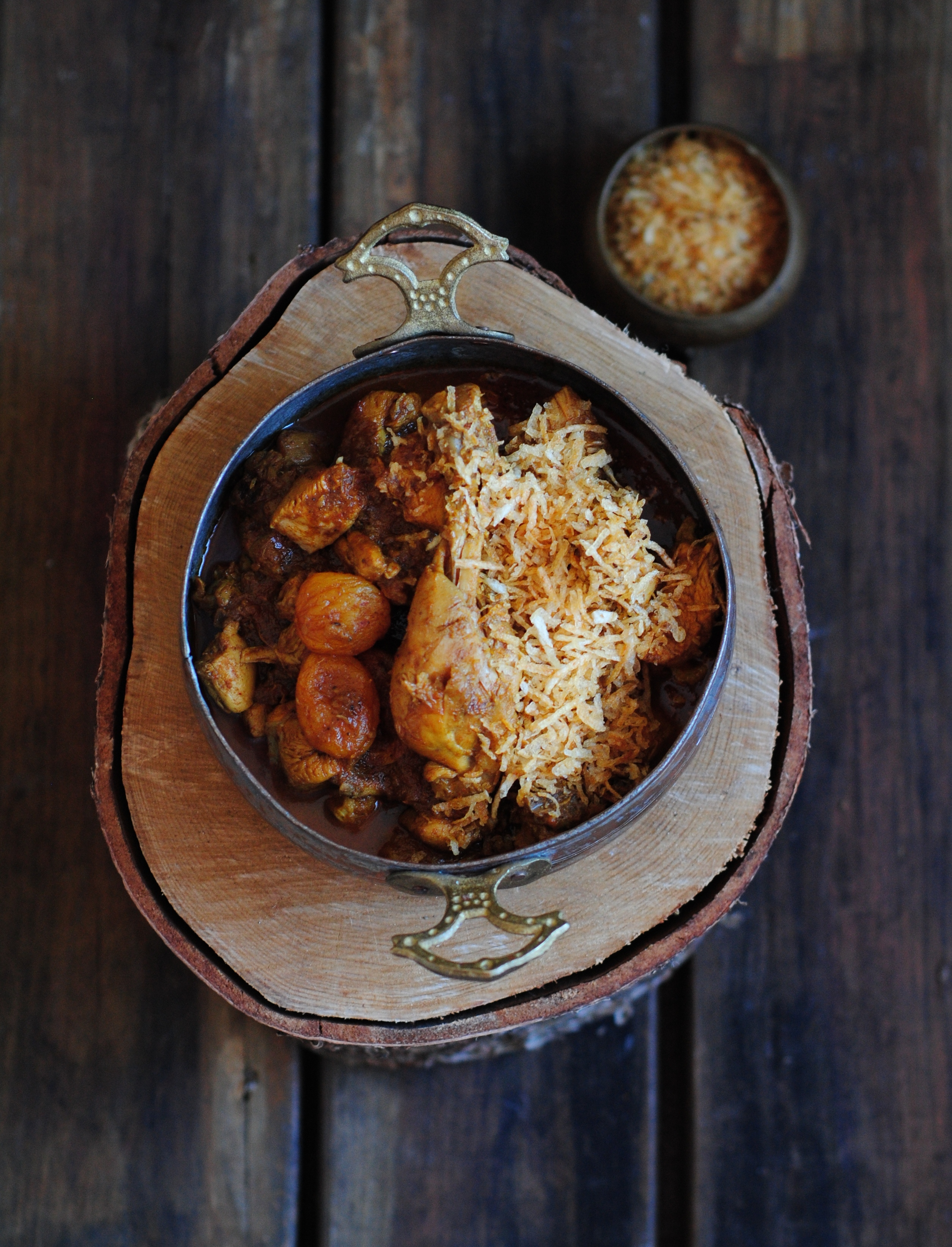 Sali jardaloo murghi/chicken with apricot and fried potatoes and the Kissa-i-Sanjan