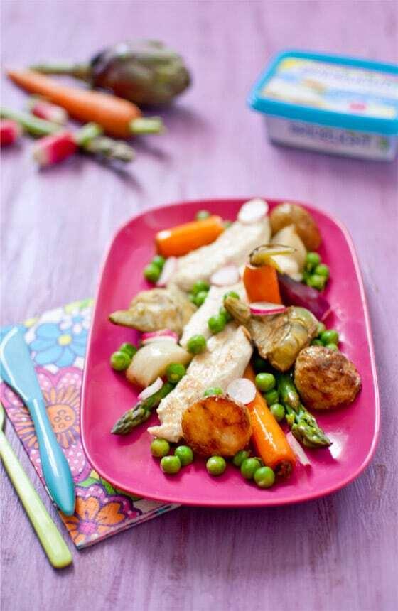 Aiguillettes de poulet à la crème, légumes printaniers {Bridelight + Concours Inside}