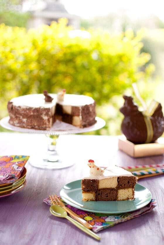 Gâteau damier sans moule spécial {Pâques}