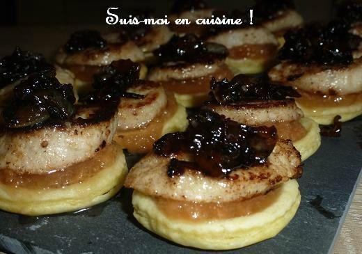 Bouchées festives boudin blanc / pomme coing / confit d'oignon