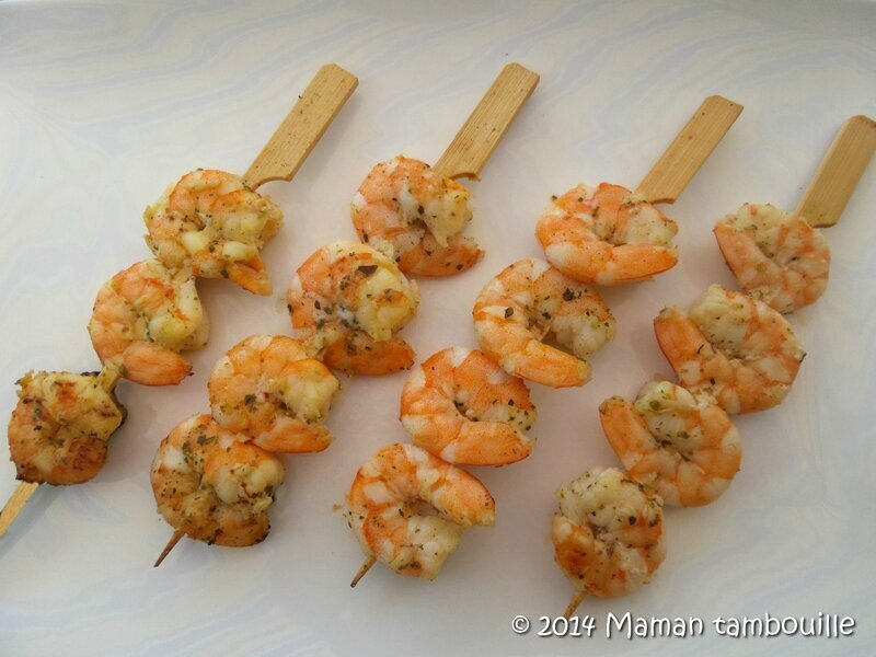 Brochettes de crevettes aux saveurs du Sud