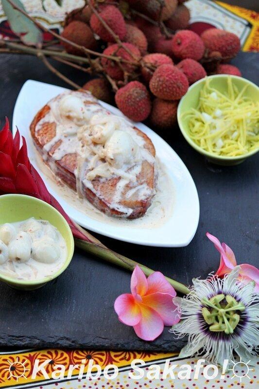 Magret de canard sauce champagne, letchis et baies roses et son rougail mangues