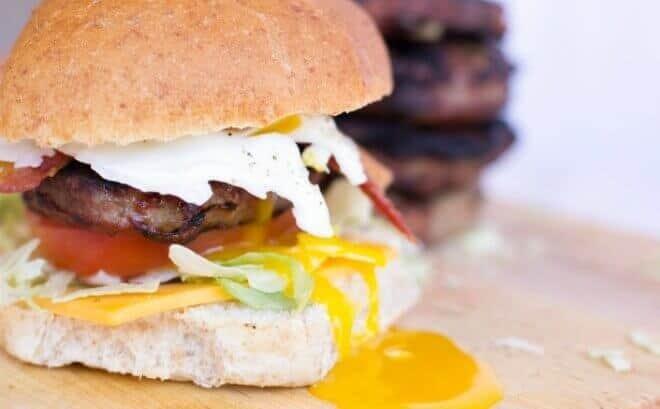 Bacon, Cheddar & Egg Burgers