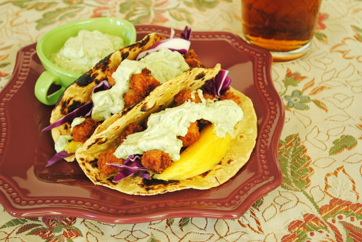 Popcorn Scallop Tacos with Cilantro-Avocado Crema