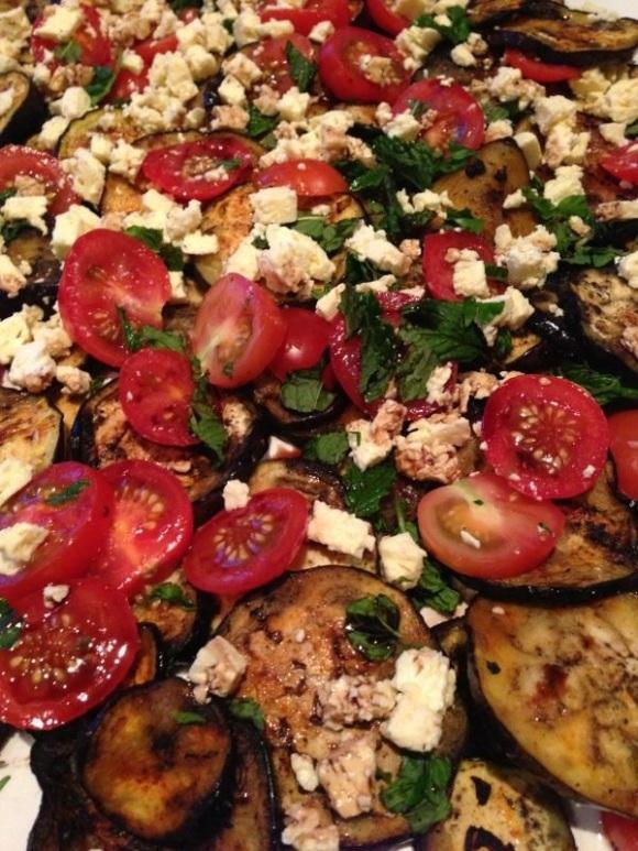 Eggplant, mint, tomato and feta salad