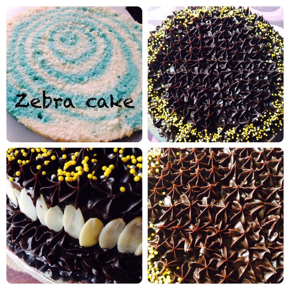 Home Baker's Challenge: Eggless Zebra Layer cake