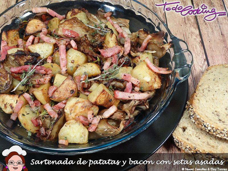 Sartenada de patatas y bacon con setas asadas