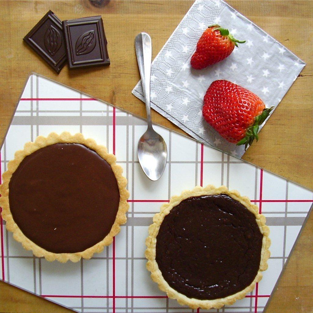 Tarte fraise-chocolat avec cuisson