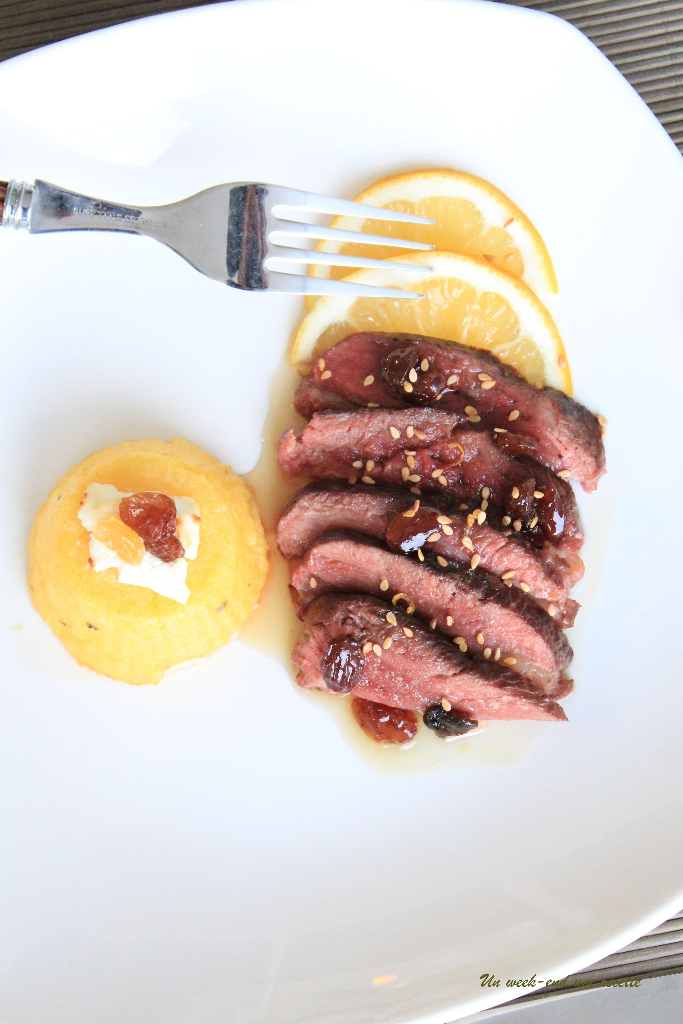 Magret de canard au miel citronné avec sa polenta au combava gingembre
