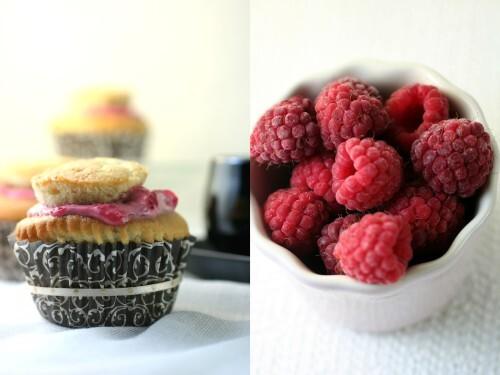 Cupcake de baunilha com recheio de framboesa