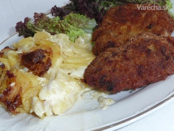 Smotanové zemiaky a mletý rezeň so syrom (fotorecept)