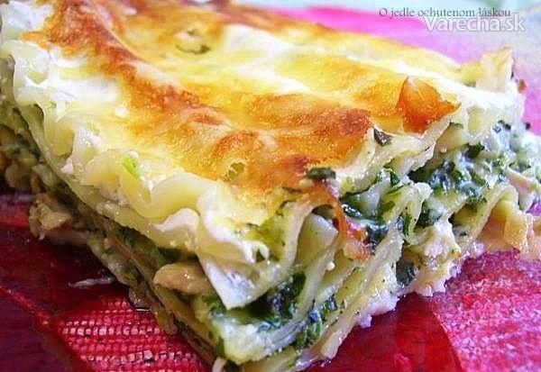 Špenátové lasagne s kuracím mäsom (fotorecept)